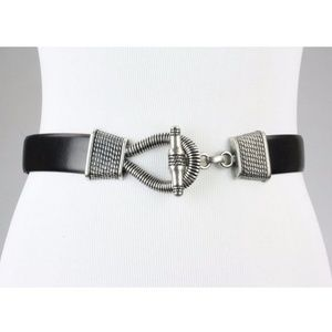 Vintage Cipriani Ethnic Silver Buckle Leather Belt